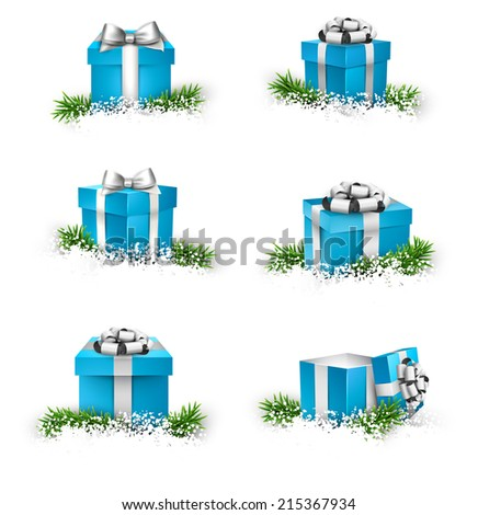 Collection of 3d christmas gift blue boxes with satin silver bows. Realistic vector illustration.  - stock vector