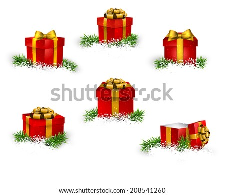 Collection of 3d christmas gift red boxes with satin golden bows. Realistic vector illustration.  - stock vector