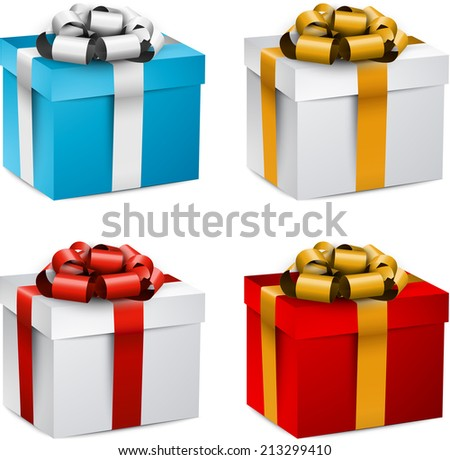 Collection of 3d closed gift boxes with satin bows. Realistic vector illustration.  - stock vector
