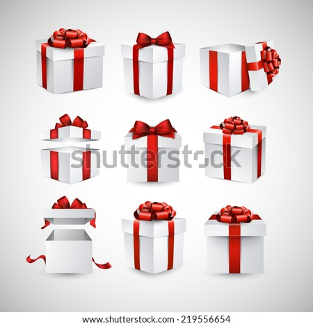 Collection of 3d gift boxes with satin red bows. Realistic vector illustration.  - stock vector