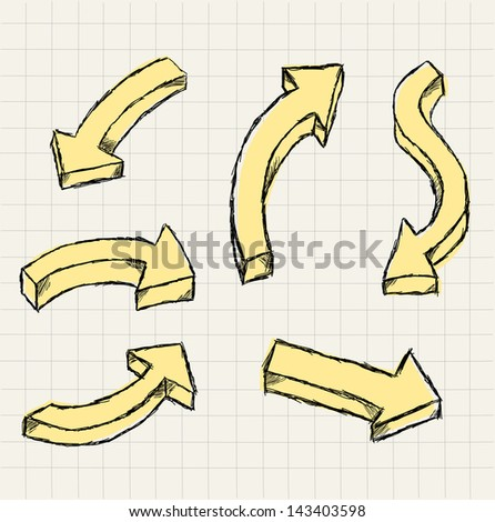 Collection of 3D hand-drawn arrows - stock vector
