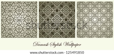 Collection of damask elegant wallpapers, seamless ornamental floral - stock vector