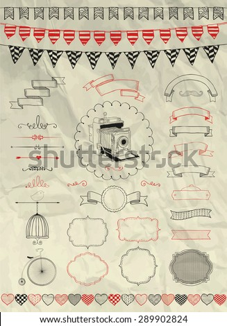 Collection of Decorative Artistic Colorful Hand Sketched Doodle Banners, Ribbons, Frames and Objects on Crumpled Paper Texture. Design Elements. Pen Drawing. Vintage Vector Illustration. Party, Flags - stock vector