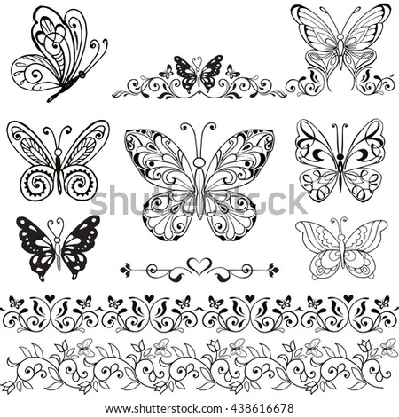Collection of decorative butterflies monochrome. Floral borders with butterflies. Vintage Collection of butterflies isolated on white - stock vector
