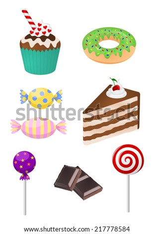Collection of decorative delicious sweets - cake, muffin, cupcake, donut, lollipop, cookie, chocolate... Set of candy icon, vector art image illustration, isolated on white background - stock vector