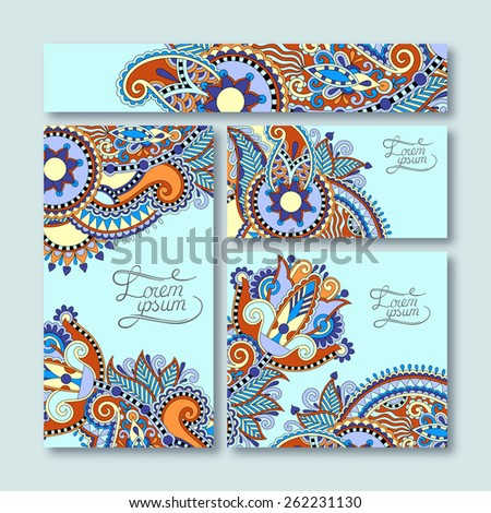 collection of decorative floral greeting cards in vintage style, ethnic pattern, vector illustration in blue color - stock vector