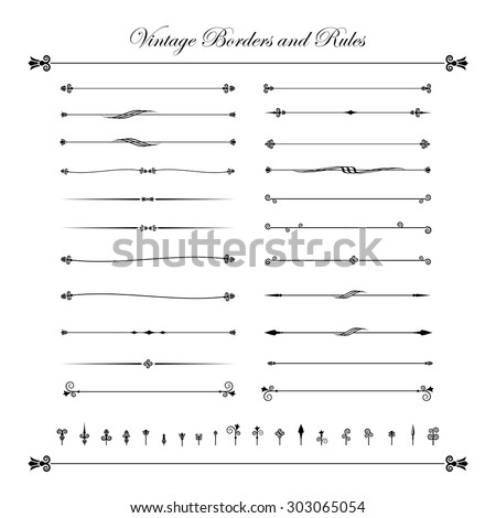 Collection of decorative line elements, border and page rules vector illustration eps10 - stock vector