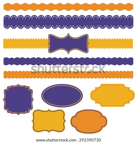 Collection of decorative tapes and frames - stock vector