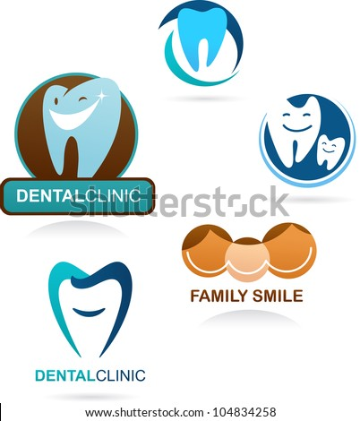collection of dental clinic icons and elements - stock vector