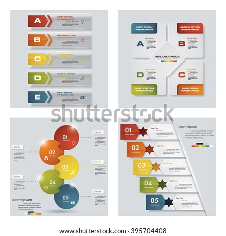 Collection of 4 design colorful presentation templates. Vector Background. For your idea and presentation.