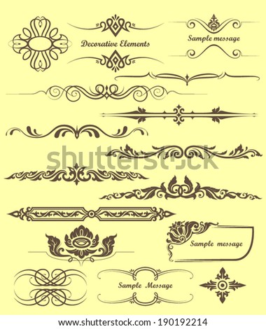 collection of design elements and page decoration - stock vector
