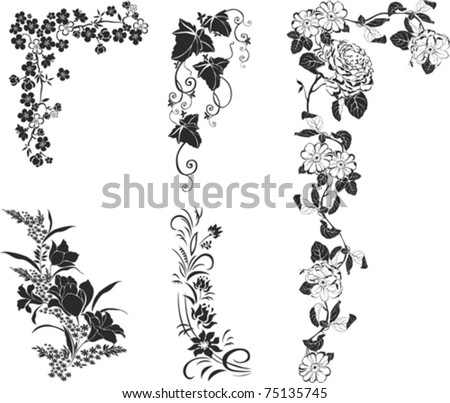 Collection of design elements isolated on White background. Vector illustration - stock vector