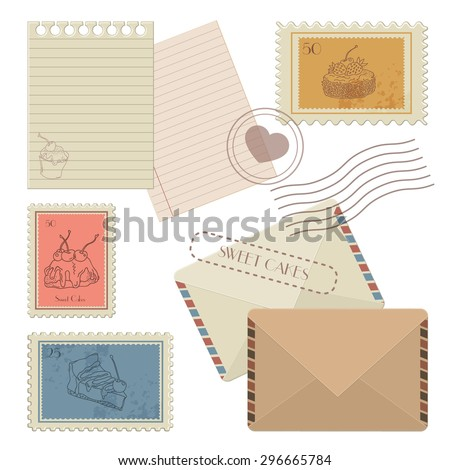 Collection of design elements mail: postage stamps, envelope and blank paper forms - stock vector