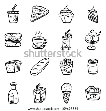 collection of dessert, food and drink  / cartoon vector and illustration, hand drawn, sketch style, isolated on white background.