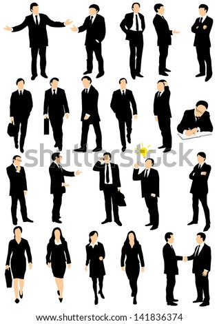 Collection of detailed caucasian business people silhouettes talking, walking and gesticulating different expressions - stock vector