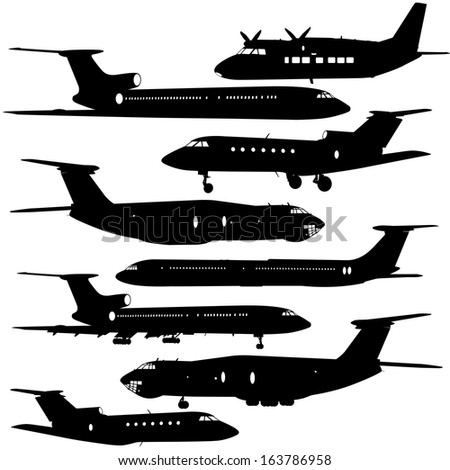 Collection of different  aircraft silhouettes.  vector illustration  - stock vector