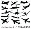 Collection of different airplane silhouettes-vector - stock vector