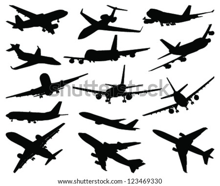 Collection of different airplane silhouettes-vector