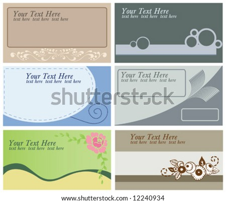 collection of 6 different business cards templates - stock vector