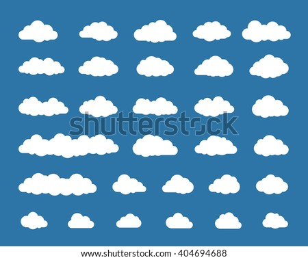 Collection of different cloud icons. Vector illustration of cloud icons - stock vector