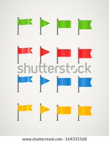 Collection of different color flags - stock vector