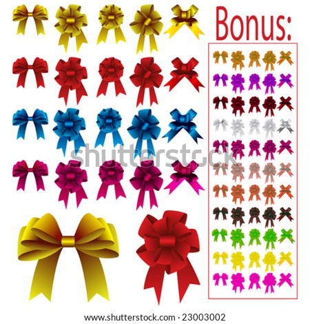 Collection of different colored bows for holidays - stock vector