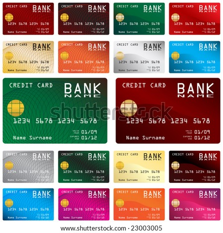 Collection of different colored credit cards for banks - stock vector