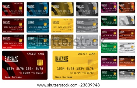 Collection of different colored credit cards for banks. To see more please visit my gallery. - stock vector