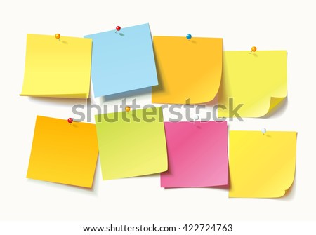Collection of different colored sheets of note papers with curled corner and push pin, ready for your message. Vector illustration. Isolated on white background. Front view. Close up.
