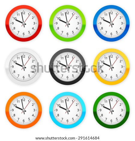 Collection of different colored wall clocks. Vector illustration - stock vector