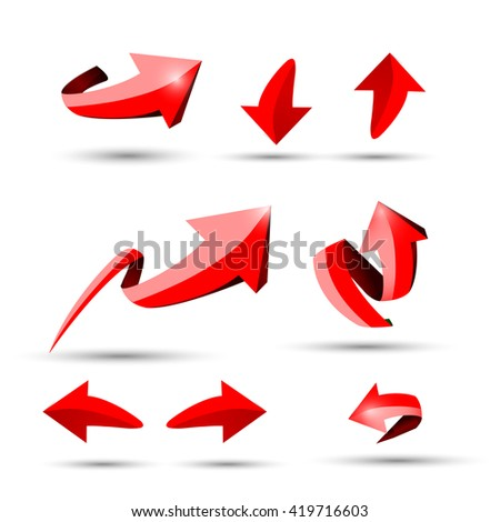 Collection of different 3D red shine arrows vector eps10