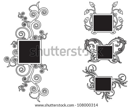 Collection of different floral frames/Vector illustration