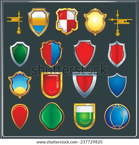 Collection of different form of military shields - stock vector