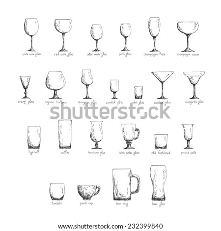 Collection of different glass glasses for different drinks, hand drawn illustration in sketch style, black and white edition - stock vector