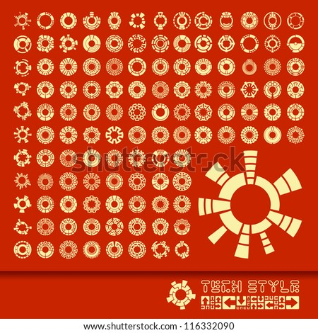 Collection of different graphic elements for design. Circles charts and graphs . - stock vector
