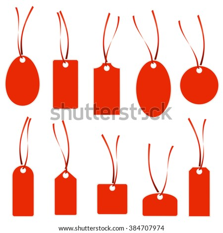 collection of different hang tags colored red