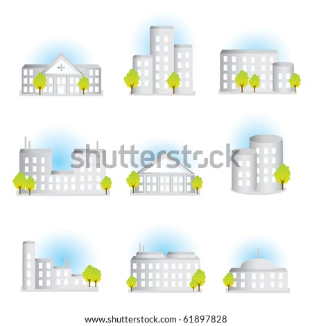 Collection of different illustrated buildings  VECTOR - stock vector