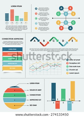 Collection of different infographics elements for business growth data presentation.  - stock vector