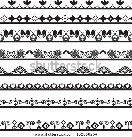 collection of different lace for design, vector illustration.