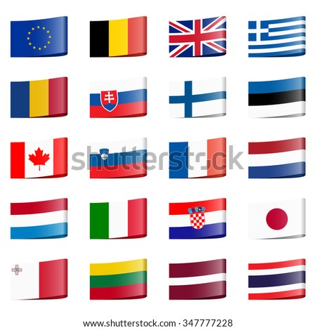 collection of different loop ribbon flags of national countries - stock vector