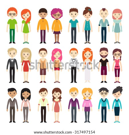 Collection of different men and women in business clothes and free-style clothes. Vector illustration with businessman and businesswoman, flat style. Set of men and women in different dress styles. - stock vector