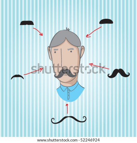 collection of different mustaches - stock vector