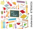 Collection of different objects for school - stock vector