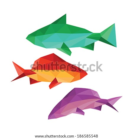 Collection of different origami fish isolated on white background - stock vector