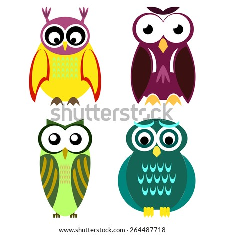 Collection of different owls - stock vector