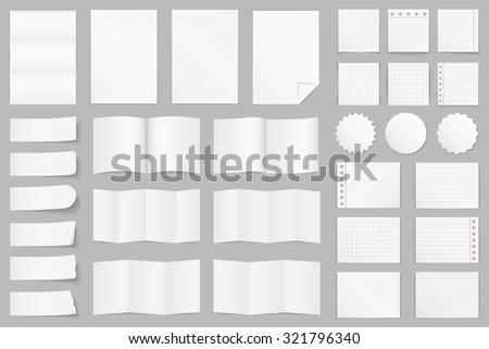 Collection of different paper - A4 paper, folded paper, brochure templates, stickers, notes, vector eps10 illustration - stock vector