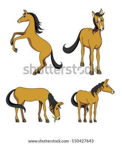 collection of different positions of horse on white background . vector file