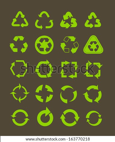 Collection of different recycle icons - stock vector