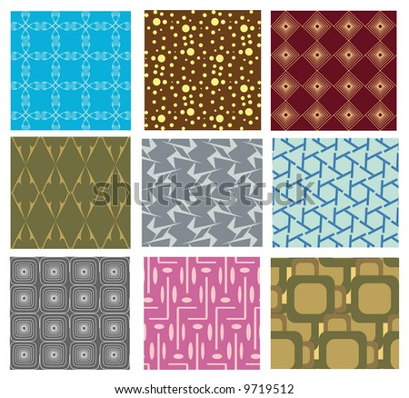collection of 9 different seamless vector pattern - stock vector