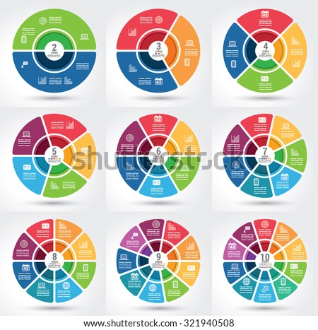 Collection of 9 different segmented infographics chart with the same theme - stock vector